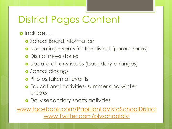 District Pages Content