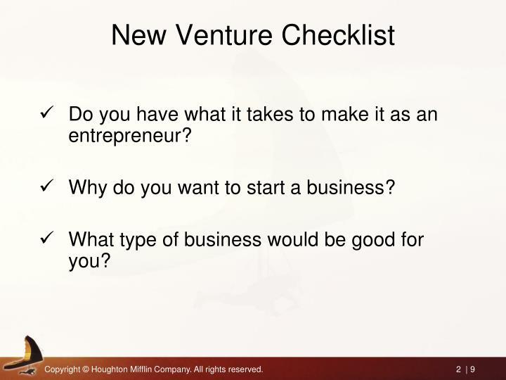 New Venture Checklist
