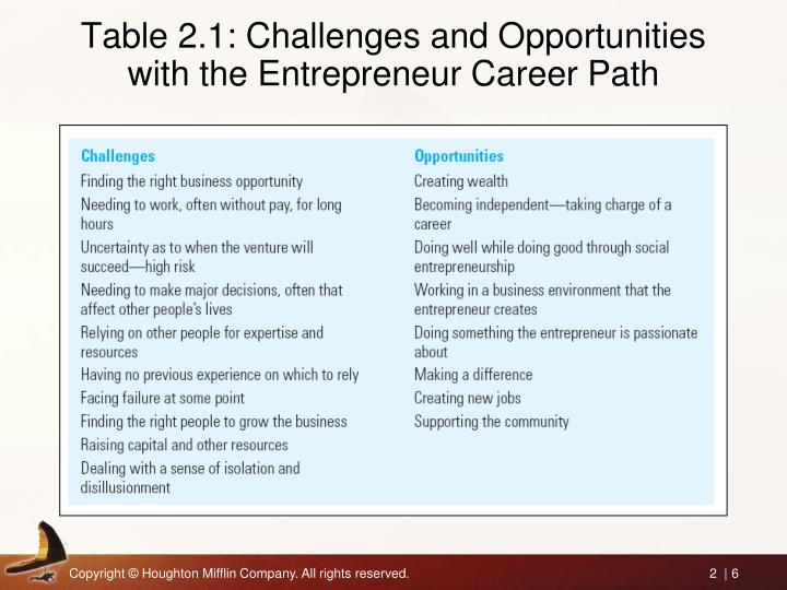 Table 2.1: Challenges and Opportunities with the Entrepreneur Career Path