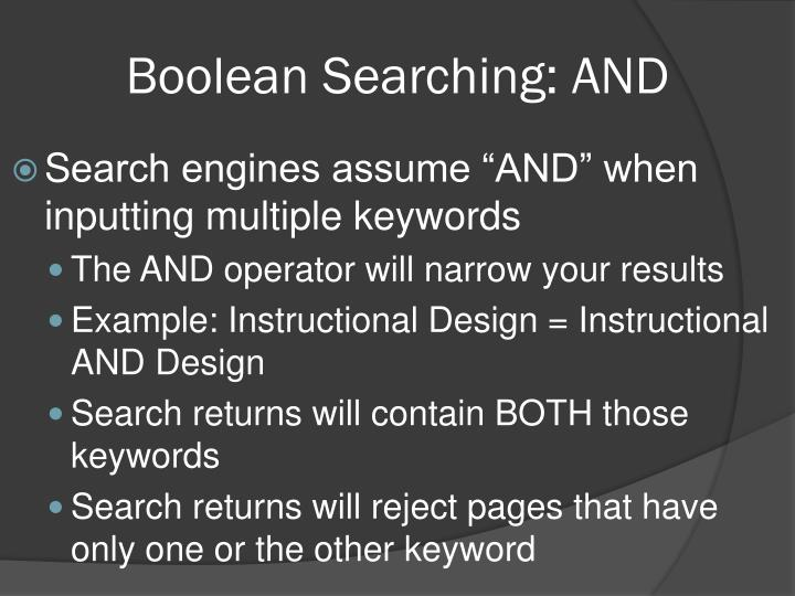 Boolean Searching: AND