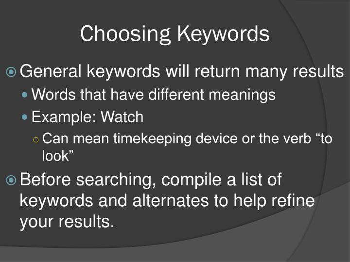 Choosing Keywords