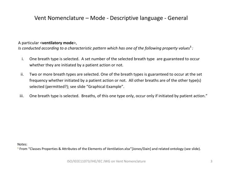 Vent Nomenclature – Mode - Descriptive language - General