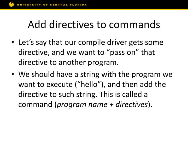 Add directives to commands