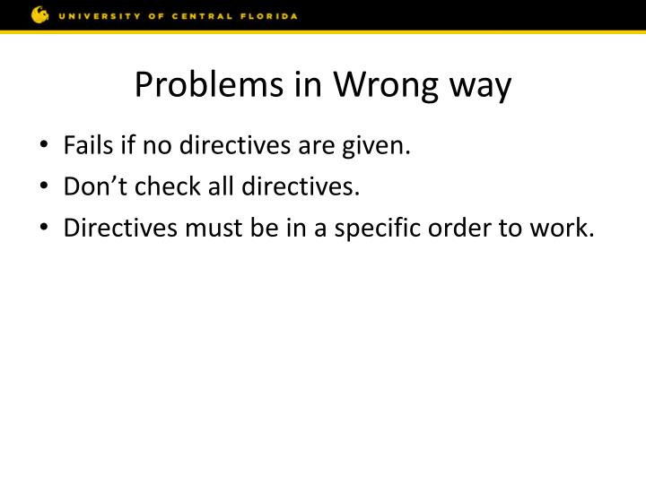 Problems in Wrong way