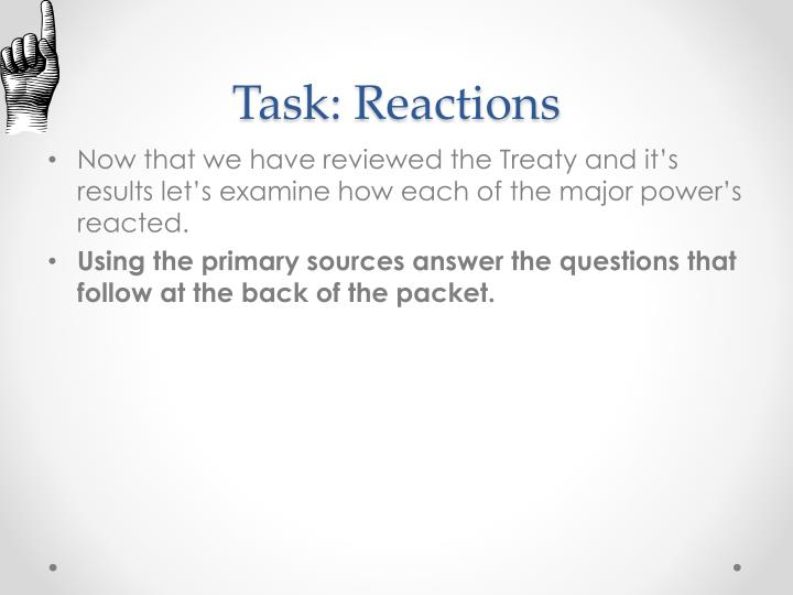 Task: Reactions
