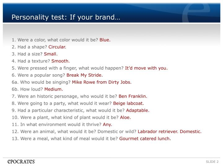 Personality test if your brand