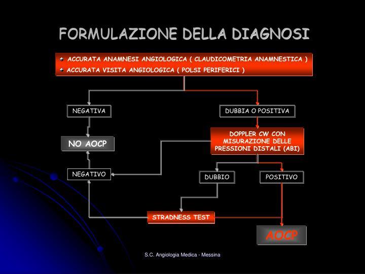 FORMULAZIONE DELLA DIAGNOSI