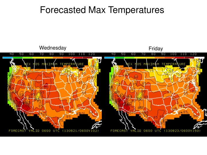 Forecasted Max Temperatures
