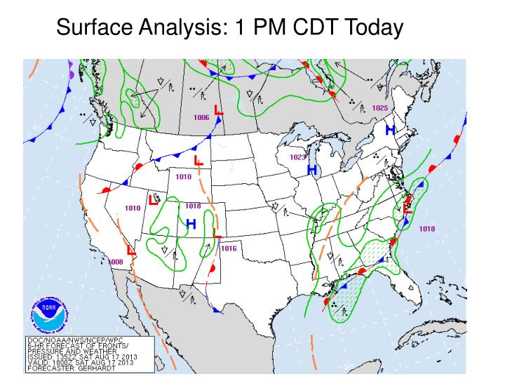 Surface Analysis: 1 PM CDT Today