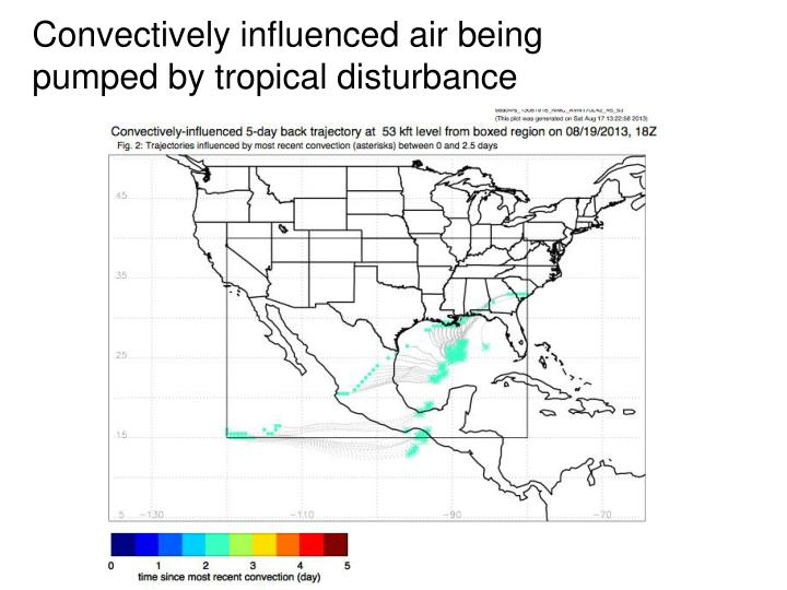 Convectively influenced air being pumped by tropical disturbance