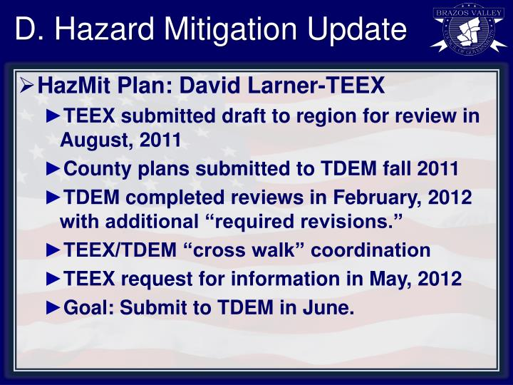 D. Hazard Mitigation Update