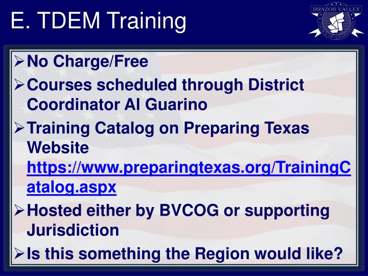 E. TDEM Training