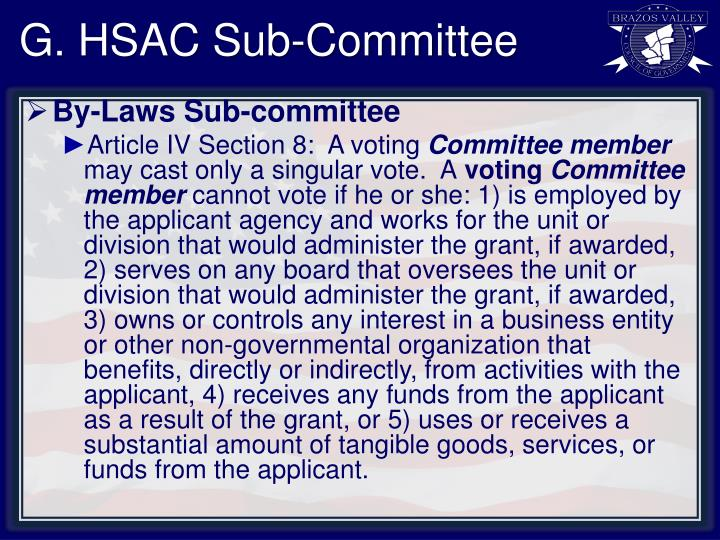 G. HSAC Sub-Committee