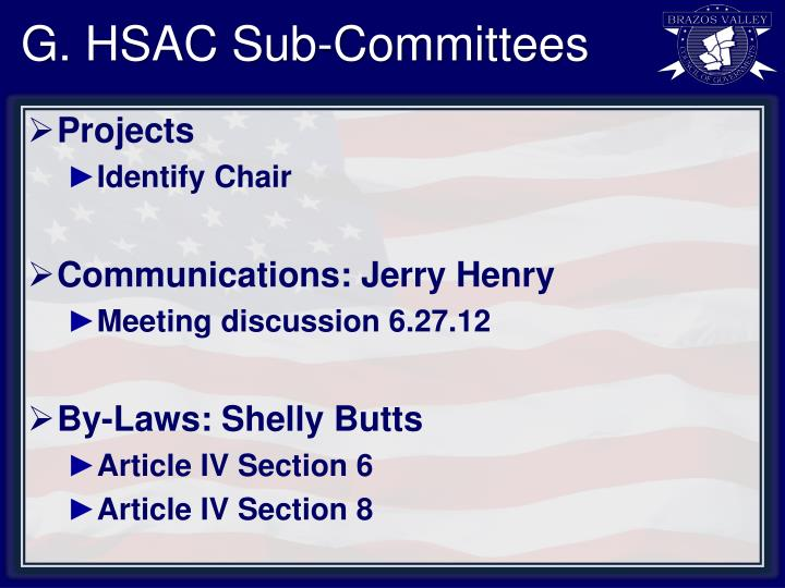 G. HSAC Sub-Committees