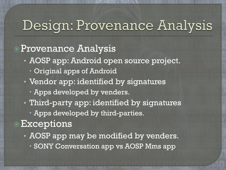 Design: Provenance