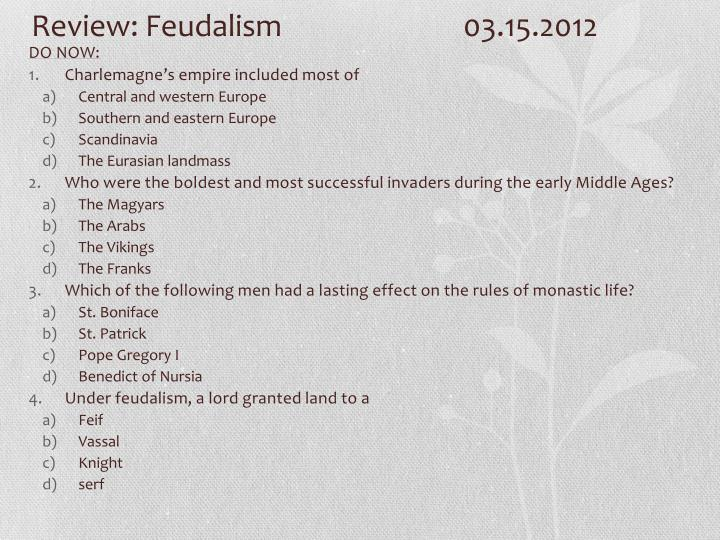 Review feudalism 03 15 2012