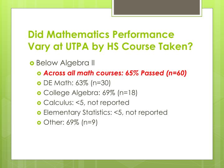 Did Mathematics Performance Vary at UTPA by HS Course Taken?