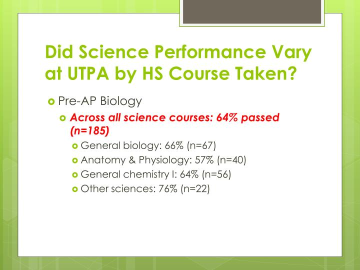 Did Science Performance Vary at