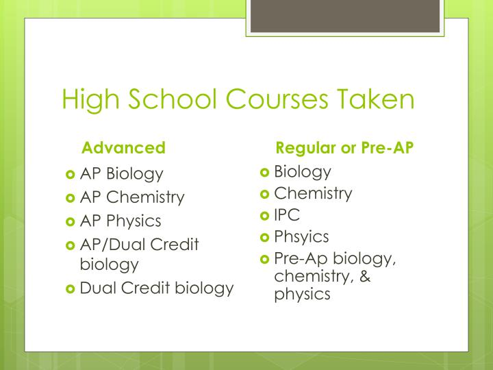 High School Courses Taken