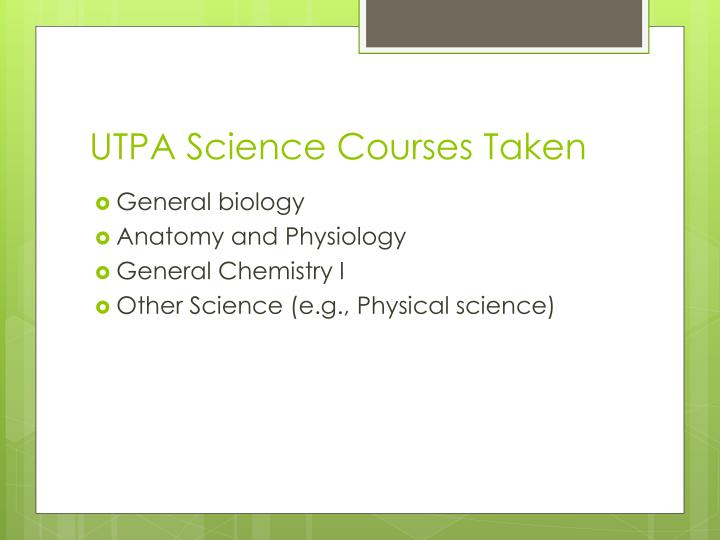 UTPA Science Courses Taken