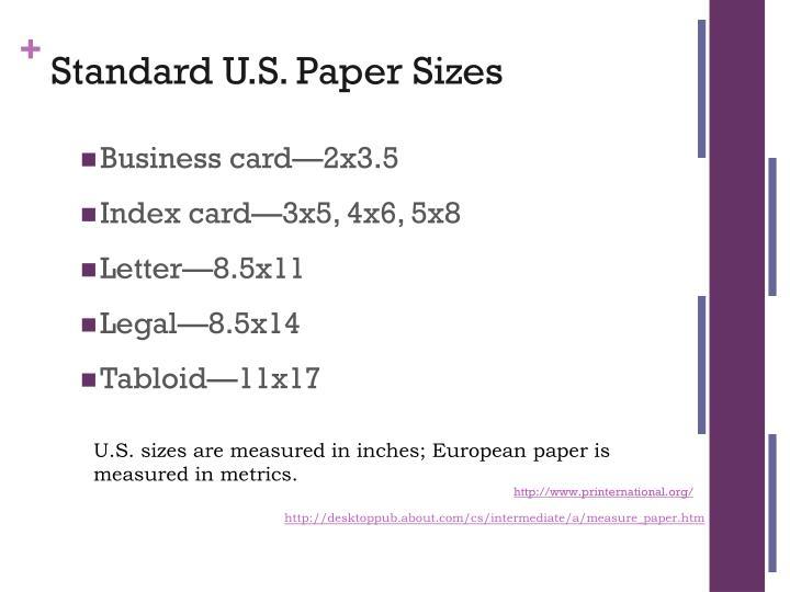 Standard U.S. Paper Sizes
