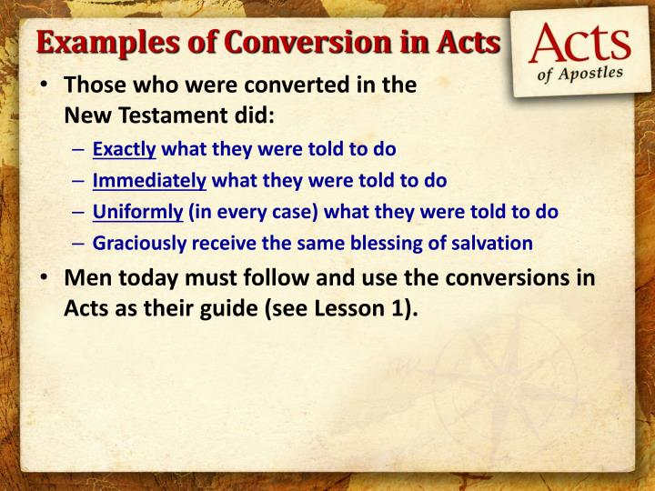 Examples of Conversion in Acts
