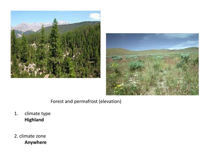 Forest and permafrost (elevation)