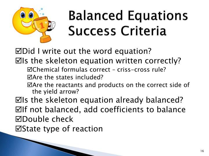 Balanced Equations
