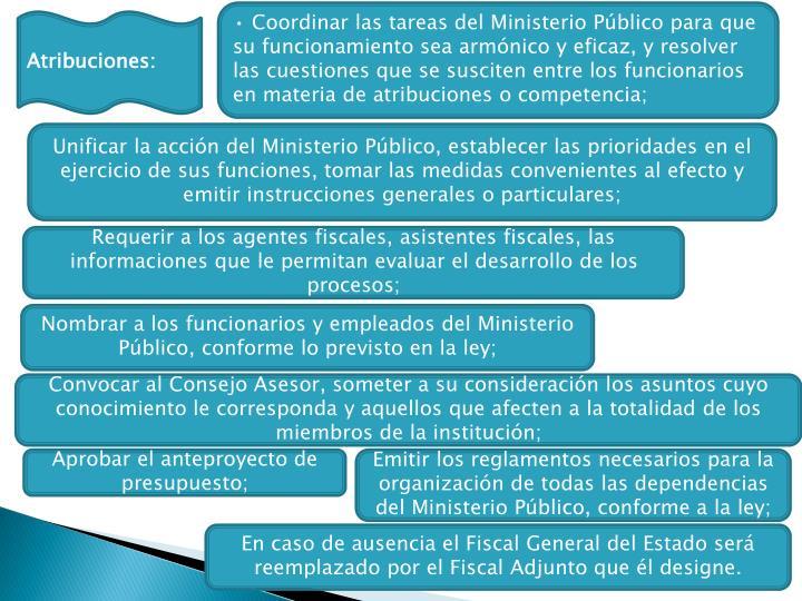 • Coordinar las tareas del Ministerio Público para que su funcionamiento sea armónico y eficaz, y resolver las cuestiones que se susciten entre los funcionarios en materia de atribuciones o competencia;