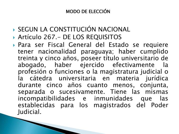 MODO DE ELECCIÓN