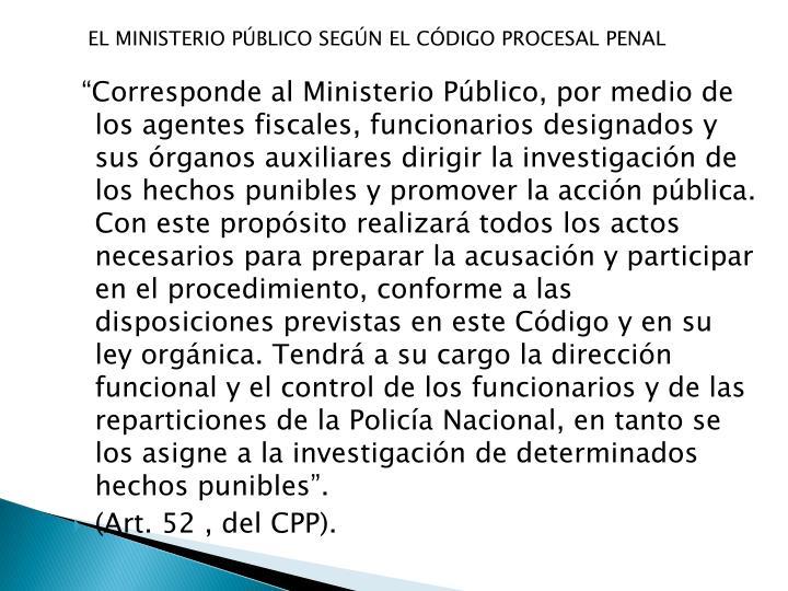 EL MINISTERIO PÚBLICO SEGÚN EL CÓDIGO PROCESAL PENAL