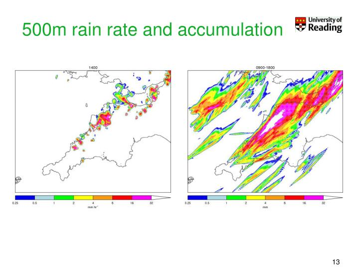 500m rain rate and accumulation