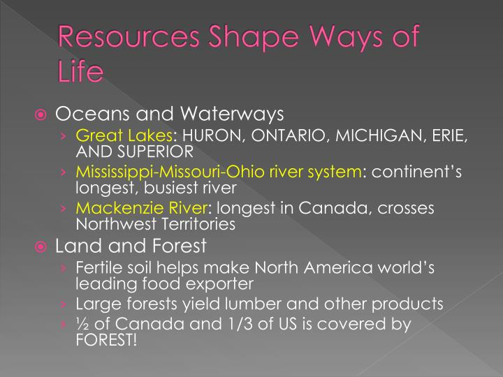 Resources Shape Ways of Life