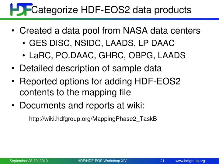 Categorize HDF-EOS2 data products