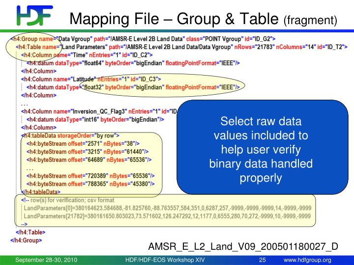 Mapping File – Group & Table