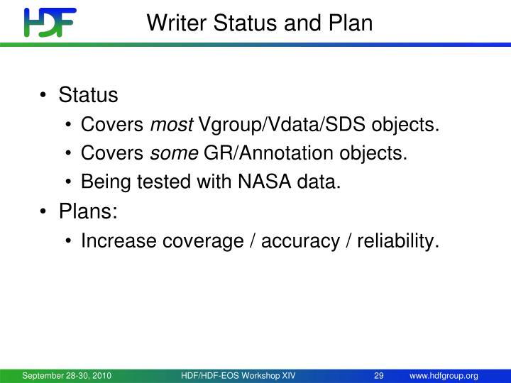 Writer Status and Plan