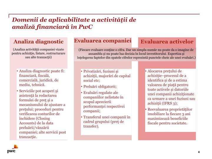 Domenii de aplicabilitate a activităţii de analiză financiară în PwC