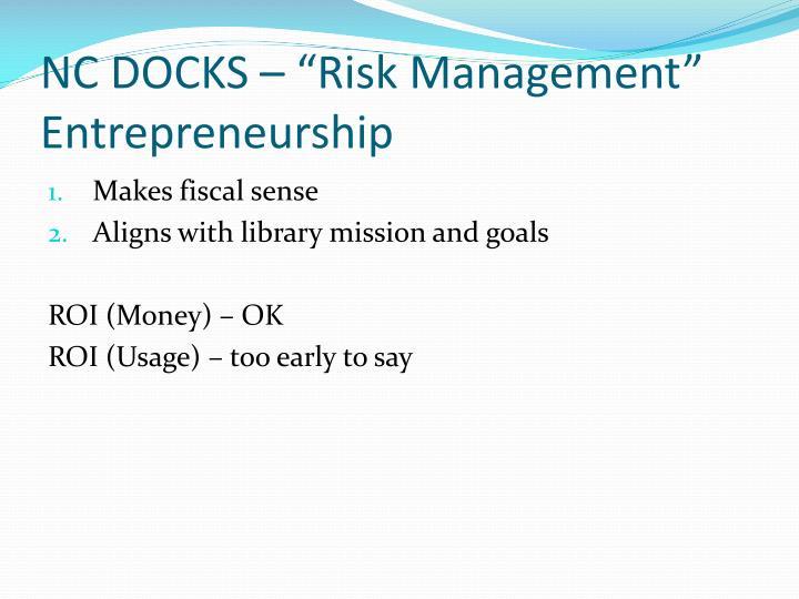 """NC DOCKS – """"Risk Management"""" Entrepreneurship"""