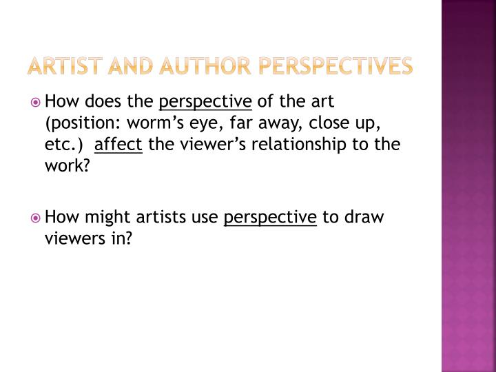 Artist and author perspectives