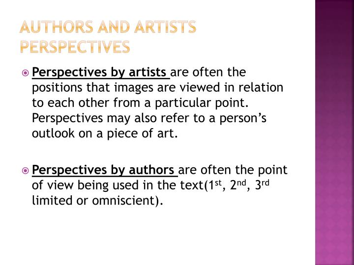 Authors and artists perspectives