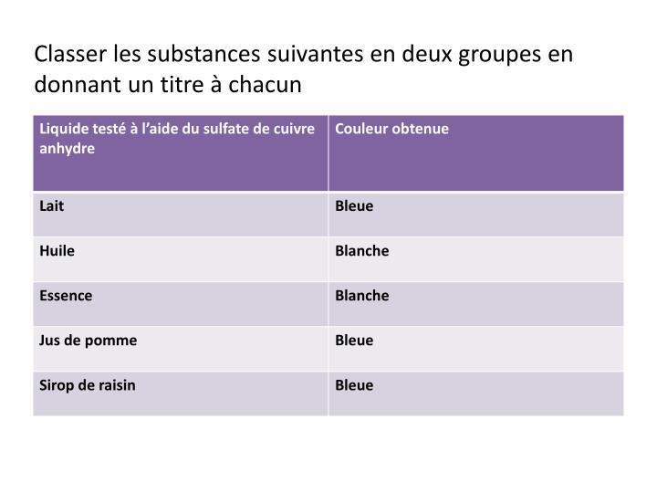 Classer les substances