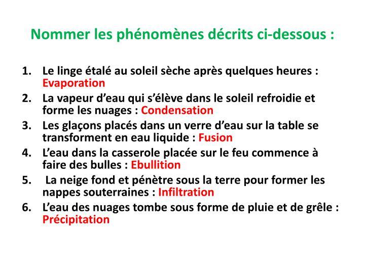 Nommer les phénomènes décrits ci-dessous: