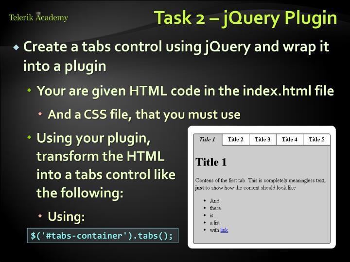 Task 2 – jQuery Plugin