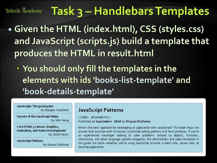 Task 3 – Handlebars Templates