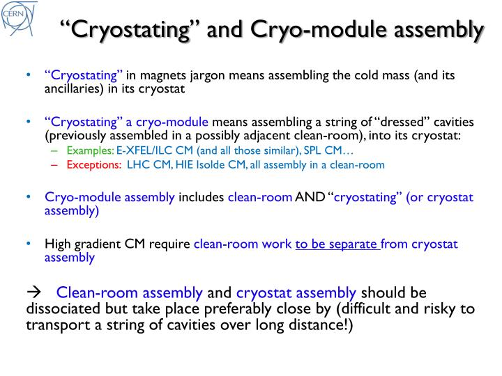 C ryostating and cryo module assembly