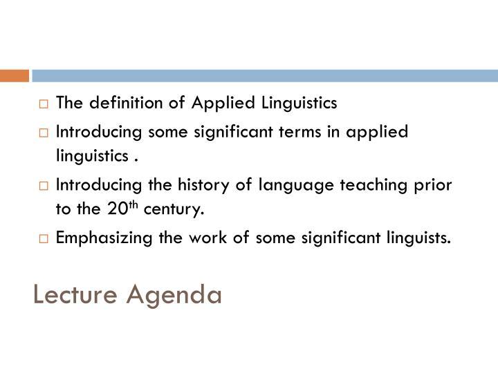 Lecture Agenda