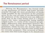 the renaissance period