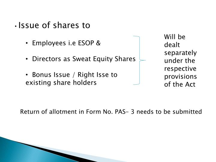 Issue of shares to