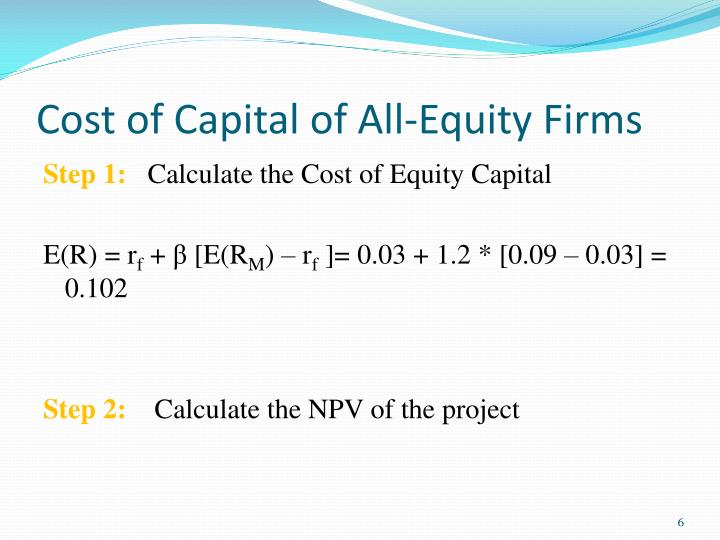 Cost of Capital of All-Equity Firms