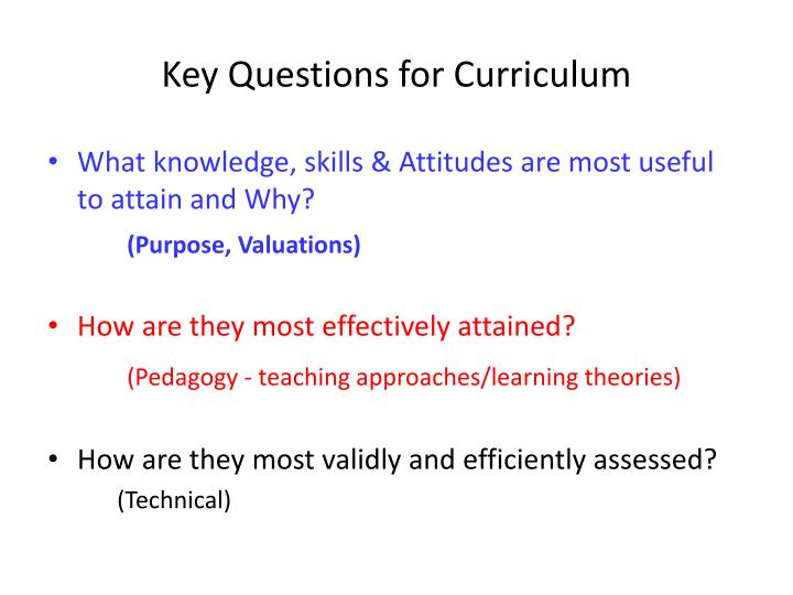 Key questions for curriculum